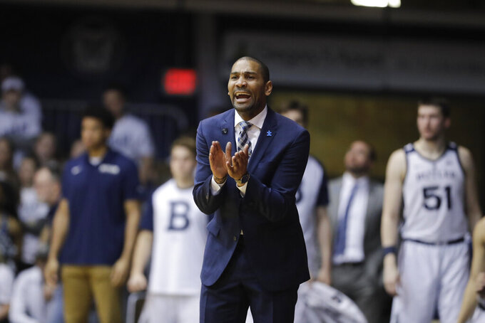 Butler coach LaVall Jordan encourages his team during the second half of an NCAA college basketball game against DePaul, Saturday, Feb. 16, 2019, in Indianapolis. Butler won 91-78. (AP Photo/Darron Cummings)