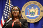 New York State Attorney General Letitia James takes a question after announcing that the state is suing the National Rifle Association during a press conference, Thursday, Aug. 6, 2020, in New York. James said that the state is seeking to put the powerful gun advocacy organization out of business over allegations that high-ranking executives diverted millions of dollars for lavish personal trips, no-show contracts for associates and other questionable expenditures. (AP Photo/Kathy Willens)