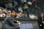 Missouri State head coach Dana Ford is seen on the sidelines during the first half of an NCAA college basketball game against Valparaiso in the semifinal round of the Missouri Valley Conference men's tournament Saturday, March 7, 2020, in St. Louis. (AP Photo/Jeff Roberson)