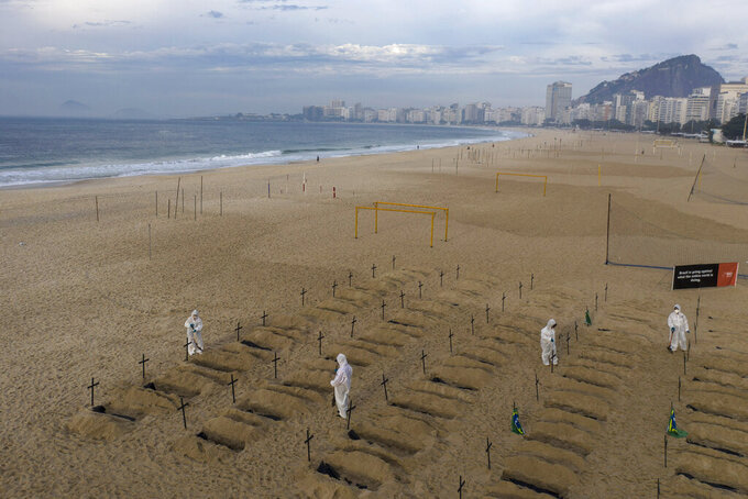 Activists in costume dig symbolic graves on Copacabana beach as a protest, organized by the NGO Rio de Paz, against the government's handling of the COVID-19 pandemic in Rio de Janeiro, Brazil, Thursday, June 11, 2020.A Brazilian Supreme Court justice ordered the government of President Jair Bolsonaro to resume publication of full COVID-19 data, including the cumulative death toll, following allegations the government was trying to hide the severity of the pandemic in Latin America's biggest country. (AP Photo/Leo Correa)