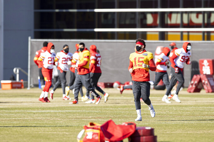 Kansas City Chiefs Quarterback Patrick Mahomes (15) between drills during NFL football practice Wednesday February 2, 2021 in Kansas City, Mo. The Chiefs will face the Tampa Bay Buccaneers in Super Bowl 55. (Steve Sanders/Kansas City Chiefs via AP)