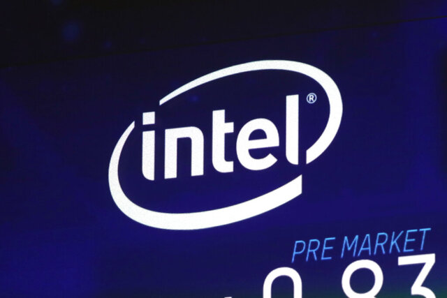 FILE - In this Oct. 3, 2018, file photo the Intel logo appears on a screen at the Nasdaq MarketSite, in New York's Times Square. Intel is talking to the Trump administration about building a new semiconductor plant in the United States amid concern about relying on suppliers in Asia for chips used in a wide variety of electronics. (AP Photo/Richard Drew, File)