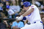 Chicago Cubs' Frank Schwindel hits a grand slam during the seventh inning of a baseball game against the Pittsburgh Pirates in Chicago, Sunday, Sept. 5, 2021. (AP Photo/Nam Y. Huh)
