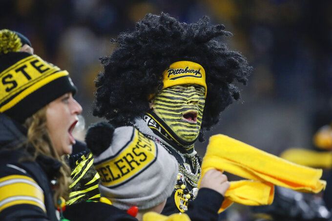 Pittsburgh Steelers fans cheer during the first half of an NFL football game against the Buffalo Bills in Pittsburgh, Sunday, Dec. 15, 2019. (AP Photo/Don Wright)