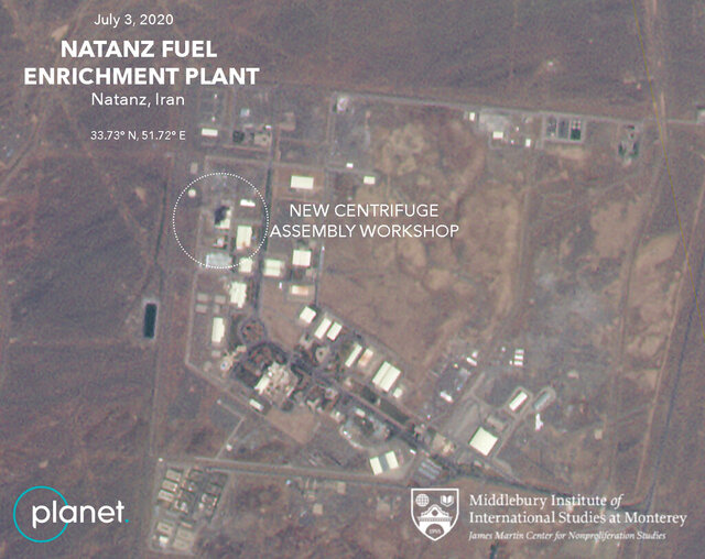 This Friday, July 3, 2020 satellite image from Planet Labs Inc. that has been annotated by experts at the James Martin Center for Nonproliferation Studies at Middlebury Institute of International Studies shows a damaged building after a fire and explosion at Iran's Natanz nuclear site. An online video and messages purportedly claiming responsibility for a fire that analysts say damaged a centrifuge assembly plant at Iran's underground Natanz nuclear site deepened the mystery Friday around the incident — even as Tehran insisted it knew the cause but would not make it public due to