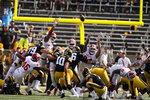 Iowa place kicker Caleb Shudak (10) kicks a 41-yard field goal during the first half of an NCAA college football game against Indiana, Saturday, Sept. 4, 2021, in Iowa City, Iowa. (AP Photo/Charlie Neibergall)