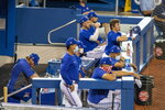 The Toronto Blue Jays occupy the dugout during intrasquad baseball game action in Toronto, Friday, July 10, 2020. (Carlos Osorio/The Canadian Press via AP)