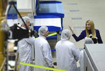 President Donald Trump's daughter Ivanka Trump visits Lockheed Martin in Littleton, Colo., Monday, July 22, 2019. Trump visited with workers at the Colorado company building a mobile communication satellite. (RJ Sangosti/The Denver Post via AP)