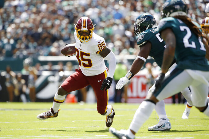 Washington Redskins' Vernon Davis runs after a catch during the first half of an NFL football game against the Philadelphia Eagles, Sunday, Sept. 8, 2019, in Philadelphia. (AP Photo/Matt Rourke)