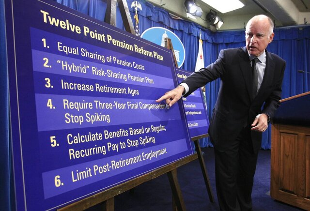 FILE - In this Oct. 27, 2011, file photo, Gov. Jerry Brown gestures to a chart showing some of his proposals to rollback public employee pension benefits during a news conference at the Capitol in Sacramento, Calif. California's decades-old protections for public employees' retirement benefits are not enough to bar state lawmakers from enacting reforms designed to prevent abuses such as