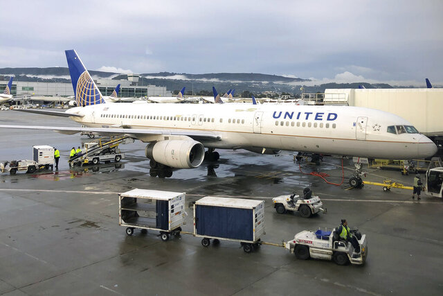 FILE - In this Dec. 25, 2019, file photo workers load baggage into a United Airlines plane at San Francisco International Airport in San Francisco. United Airlines reports financial results Tuesday, Jan. 21, 2020. (AP Photo/Jeff Chiu, File)