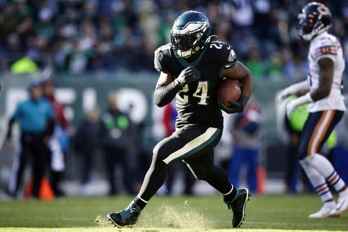 Philadelphia Eagles' Jordan Howard rushes for a touchdown during the second half of an NFL football game against the Chicago Bears, Sunday, Nov. 3, 2019, in Philadelphia. (AP Photo/Matt Rourke)