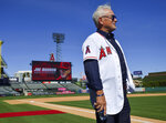 Los Angeles Angels manager Joe Maddon chats with visitors to a news conference introducing him as manager of the baseball team, at Angel Stadium in Anaheim, Calif., Thursday, Oct. 24, 2019. (Jeff Gritchen/The Orange County Register via AP)