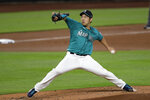 Seattle Mariners starting pitcher Yusei Kikuchi throws against the Colorado Rockies in the second inning of a baseball game Friday, Aug. 7, 2020, in Seattle. (AP Photo/Elaine Thompson)