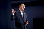 Democratic presidential candidate Andrew Yang speaks at