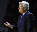 Kansas State head coach Bruce Weber smiles at his team during the first half of an NCAA college basketball game against TCU in Manhattan, Kan., Saturday, Jan. 19, 2019. (AP Photo/Orlin Wagner)