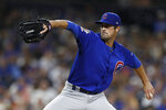 Chicago Cubs starting pitcher Cole Hamels works against a San Diego Padres batter during the fourth inning of a baseball game Wednesday, Sept. 11, 2019, in San Diego. (AP Photo/Gregory Bull)