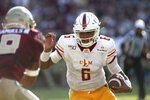 Louisiana-Monroe's Caleb Evans (6) runs against Florida State in the second quarter of an NCAA college football game Saturday, Sept. 7, 2019, in Tallahassee Fla. (AP Photo/Steve Cannon)