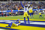 Los Angeles Rams defensive back David Long, left, intercepts a pass in the end zone during the first half of an NFL football game against the Chicago Bears, Sunday, Sept. 12, 2021, in Inglewood, Calif. (AP Photo/Marcio Jose Sanchez)