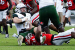 UAB quarterback Tyler Johnston III (17) is brought down by Georgia defensive lineman Travon Walker (44) after a short gain during the first half of an NCAA college football game Saturday, Sept. 11, 2021, in Athens, Ga. (AP Photo/John Bazemore)