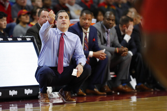 Iowa State head coach Steve Prohm directs his team against TCU during the second half of an NCAA college basketball game, Tuesday, Feb. 25, 2020, in Ames, Iowa. Iowa State won 65-59. (AP Photo/ Matthew Putney)