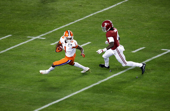 Clemson's Trayvon Mullen intercepts a pass during the first half the NCAA college football playoff championship game against Alabama, Monday, Jan. 7, 2019, in Santa Clara, Calif. (AP Photo/Jeff Chiu)