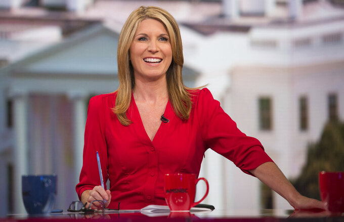 """This image provided by MSNBC shows Nicolle Wallace on the set of """"Deadline: White House."""" (Nathan Congleton/MSNBC via AP)"""
