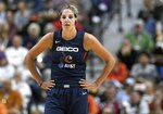 Washington Mystics' Elena Delle Donne stands on the court during the second half in Game 3 of basketball's WNBA Finals, Sunday, Oct. 6, 2019, in Uncasville, Conn. (AP Photo/Jessica Hill)