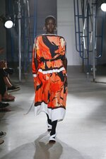 This Sept. 10, 2019 photo released by Proenza Schouler shows a model wearing clothing from their Spring/Summer 2020 collection during Fashion Week in New York. (Monica Feudi/Proenza Schouler via AP)