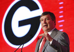 July 16, 2019 Birmingham: Georgia head coach Kirby Smart holds his press conference at the Hyatt Regency Birmingham-Wynfrey Hotel during SEC Media Days on Tuesday, July 16, 2019, in Birmingham. (Curtis Compton/Atlanta Journal-Constitution via AP)