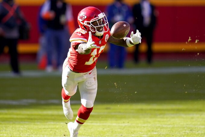 Kansas City Chiefs wide receiver Byron Pringle (13) is unable to reach a pass in the second half of an NFL football game against the New York Jets on Sunday, Nov. 1, 2020, in Kansas City, Mo. (AP Photo/Jeff Roberson)