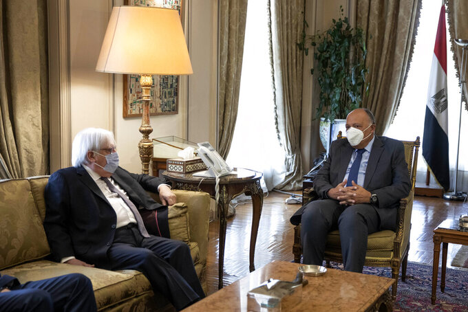 UN Special Envoy for Yemen Martin Griffiths, left, and Egyptian Foreign Minister Sameh Shoukry meet at the Ministry of Foreign Affairs, in Cairo, Egypt, Sunday, April 25, 2021. (AP Photo/Nariman El-Mofty)