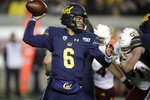 California quarterback Devon Modster (6) passes against Arizona State in the second half of an NCAA college football game, Friday, Sept. 27, 2019, in Berkeley, Calif. (AP Photo/Ben Margot)