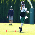 FILE - In this Thursday, Aug. 20, 2020, file photo, New York Jets' Chris Hogan makes a catch during practice at the NFL football team's training camp in Florham Park, N.J. Replacing an NFL player because of injury or play usually is as easy as a phone call and a plane ride. Chris Hogan only had to travel 30 minutes from Wyckoff, New Jersey, to the New York Jets' facility in Florham Park when he got the call. He agreed to terms Aug. 16, went through testing and signed on Wednesday before his first practice.  (AP Photo/Seth Wenig, File)