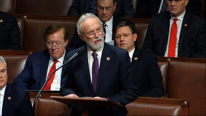 FILE - In this Dec. 18, 2019 file photo Rep. Dan Newhouse, R-Wash., speaks as the House of Representatives debates the articles of impeachment against President Donald Trump at the Capitol in Washington. On Wednesday, Jan. 13, 2021, Newhouse came out in favor of impeaching Trump over last week's riot at the Capitol. (House Television via AP, File)