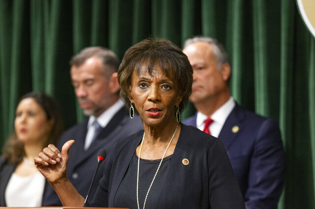 FILE - In this Sept. 19, 2019, file photo, Los Angeles County District Attorney, Jackie Lacey speaks during a news conference in Los Angeles. Two candidates running campaigns based around criminal justice reforms are trying to unseat the two-term district attorney of Los Angeles. Lacey is opposed by former San Francisco District Attorney George Gascon and ex-public defender Rachel Rossi. (AP Photo/Damian Dovarganes, File)