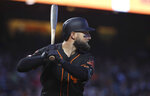 San Francisco Giants' Kevin Pillar bats against the St. Louis Cardinals during the fourth inning of a baseball game in San Francisco, Saturday, July 6, 2019. (AP Photo/Jeff Chiu)
