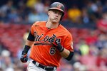 Baltimore Orioles' Ryan Mountcastle runs the bases after hitting a two-run home run during the first inning of a baseball game against the Boston Red Sox, Saturday, Sept. 18, 2021, in Boston. (AP Photo/Michael Dwyer)