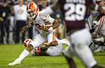 FILE - In this Sept. 8, 2018, file photo, Clemson quarterback Kelly Bryant (2) stops to change directions during a fourth-quarter run against Texas A&M during an NCAA college football game, in College Station, Texas. (AP Photo/Sam Craft, File)