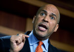 Sen. Cory Booker, D-N.J., speaks to reporters after announcing a draft bill that would decriminalize marijuana on a federal level, Wednesday, July 14, 2021, on Capitol Hill in Washington.  (AP Photo/Amanda Andrade-Rhoades)
