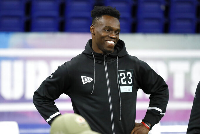 Iowa defensive back Michael Ojemudia waits to be tested at the NFL football scouting combine in Indianapolis, Sunday, March 1, 2020. (AP Photo/Charlie Neibergall)