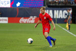 United States' Paxton Pomykal controls the ball during the second half of a friendly soccer match against Uruguay Tuesday, Sept. 10, 2019, in St. Louis. The game ended in a 1-1 tie. (AP Photo/Jeff Roberson)