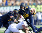 California  running back Patrick Laird (28) runs the ball against Stanford in the second quarter of a football game in Berkeley, Calif., Saturday, Dec. 1, 2018. (AP Photo/John Hefti)
