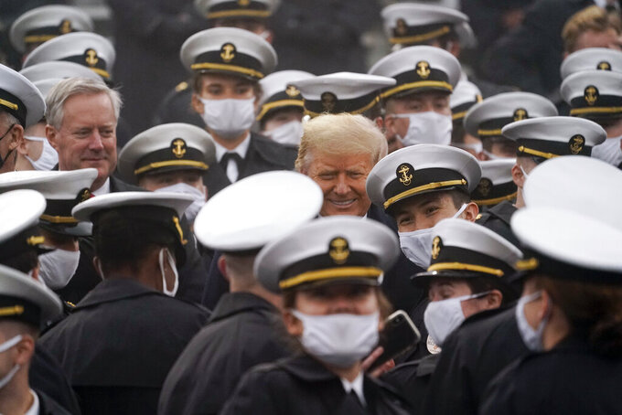 White House chief of staff Mark Meadows and President Donald Trump attend the 121st Army-Navy Football Game in Michie Stadium at the United States Military Academy, Saturday, Dec. 12, 2020, in West Point, N.Y. (AP Photo/Andrew Harnik)