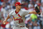 St. Louis Cardinals starting pitcher Jack Flaherty (22) in the fifth inning works during Game 2 of a best-of-five National League Division Series against the Atlanta Braves, Friday, Oct. 4, 2019, in Atlanta. (AP Photo/John Bazemore)