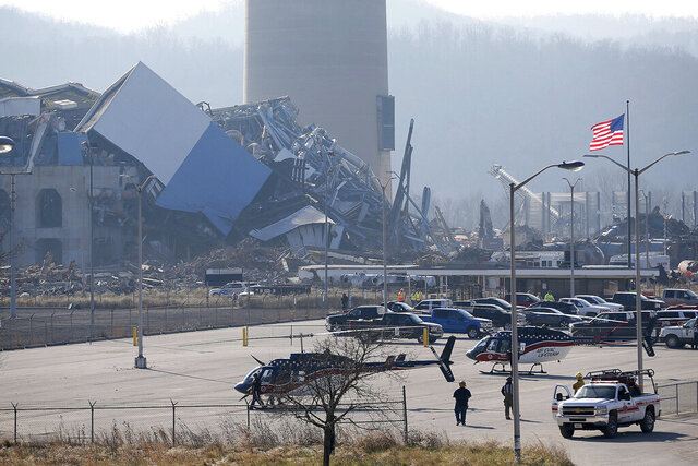 FILE- In this Dec. 9, 2020, file photo is the Killen Generating Station, a closed power plant that collapsed in Adams County, Ohio. The body of a second worker killed in the power plant collapse in southern Ohio has been located, his employer said Friday, Jan. 8, 2021. A spokesman for Detroit-based demolition contractor Adamo Group said by email that the family and other loved ones of 47-year-old Jamie Fitzgerald have been notified. (Sam Greene/The Cincinnati Enquirer via AP, File)