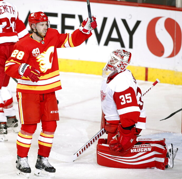 Calgary Flames center Elias Lindholm (28) celebrates his goal in front of Detroit Red Wings goalie Jimmy Howard (35) during second-period NHL hockey action in Calgary, Alberta, Thursday, Oct. 17, 2019.  (Larry MacDougal/The Canadian Press via AP)