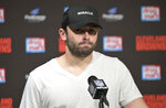 Cleveland Browns quarterback Baker Mayfield answers questions during a news conference after the Tennessee Titans defeated the Browns in an NFL football game, Sunday, Sept. 8, 2019, in Cleveland. (AP Photo/David Richard)