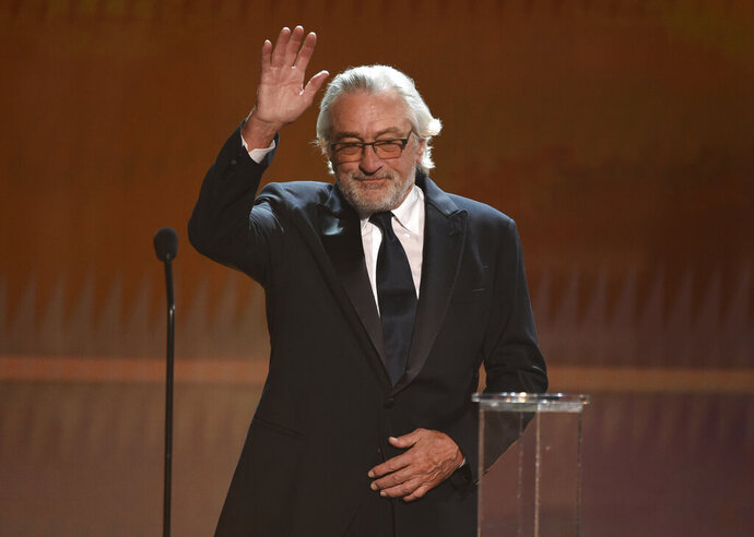 Robert De Niro accepts the lifetime achievement award at the 26th annual Screen Actors Guild Awards at the Shrine Auditorium & Expo Hall on Sunday, Jan. 19, 2020, in Los Angeles. (Photo/Chris Pizzello)