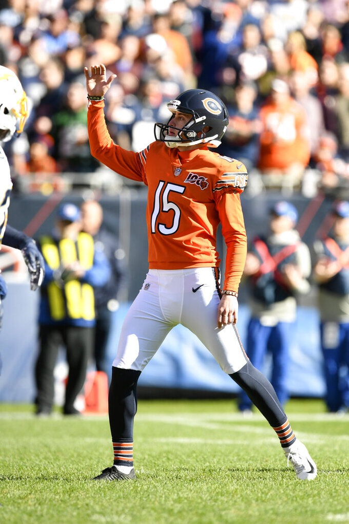 Chicago Bears kicker Eddy Pineiro celebrates after kicking a field goal during the first half of an NFL football game against the Los Angeles Chargers, Sunday, Oct. 27, 2019, in Chicago. (AP Photo/Paul Beaty)